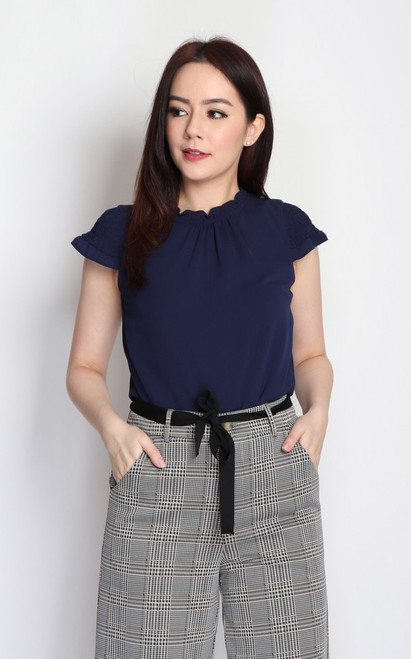 Smocked Sleeves Top - Navy