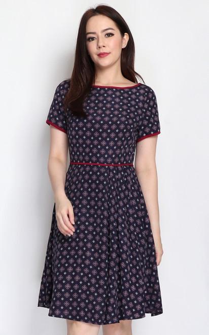Tile Print Pleated Dress