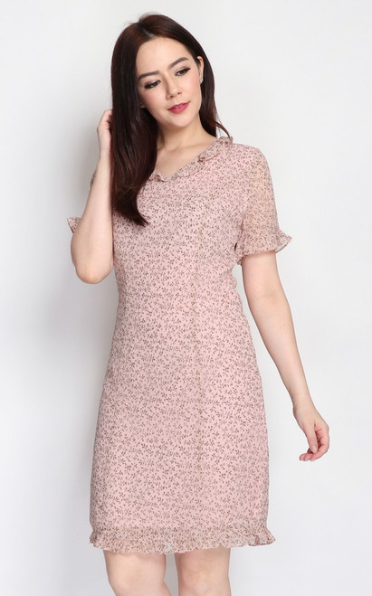 Printed Frill Dress - Dusty Pink