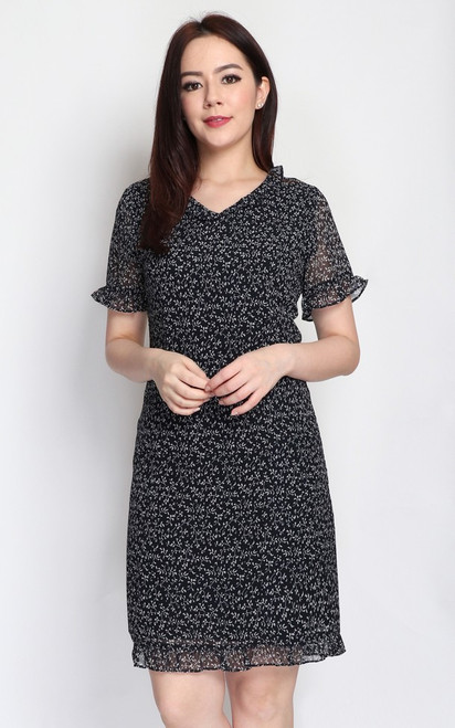 Printed Frill Dress - Black