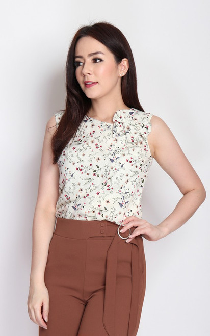 Asymmetrical Bow Top - Cream