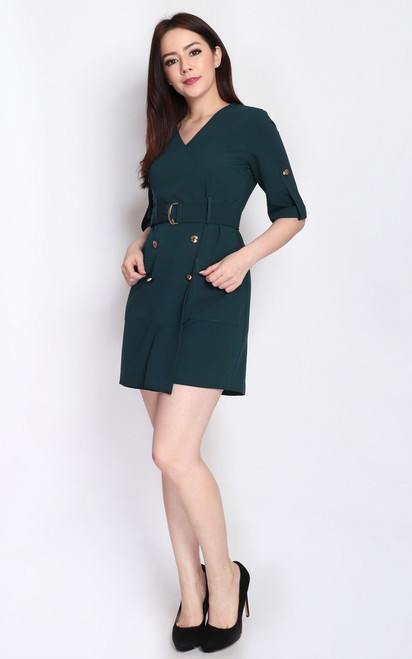 Gold Buttons Romper - Forest Green
