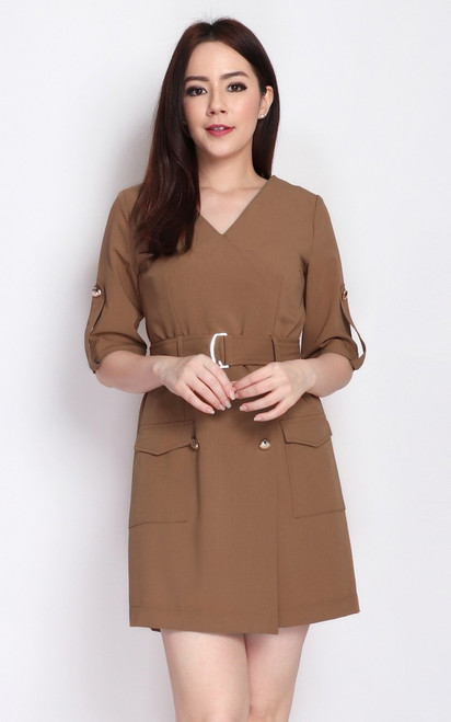 Gold Buttons Romper - Toffee