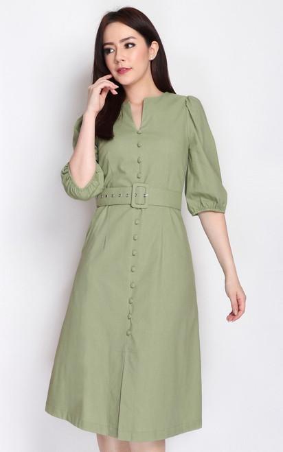 Buttons Linen Dress - Sage