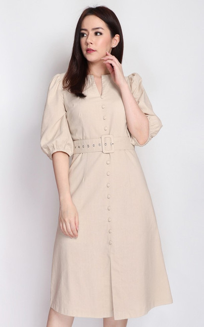 Buttons Linen Dress - Ecru