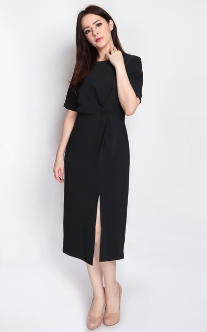 Side Twist Midi Dress - Black