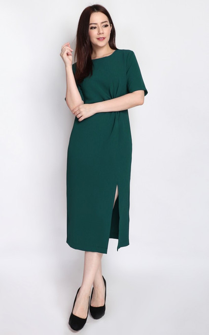 Side Twist Midi Dress - Forest Green