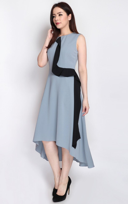 Hi-Lo Hem Dress - Dusty Blue