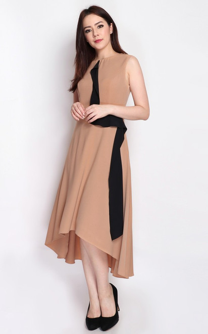 Hi-Lo Hem Dress - Taupe