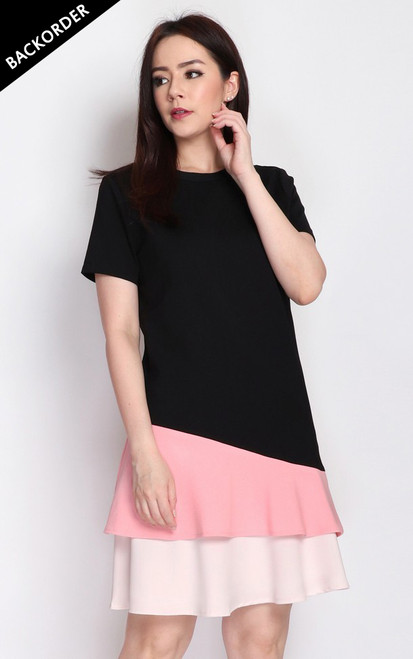 Colourblock Tiered Hem Dress