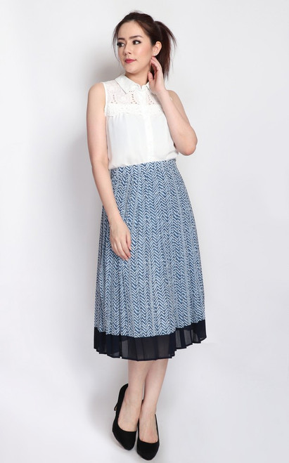 Chevron Print Pleated Skirt - Blue