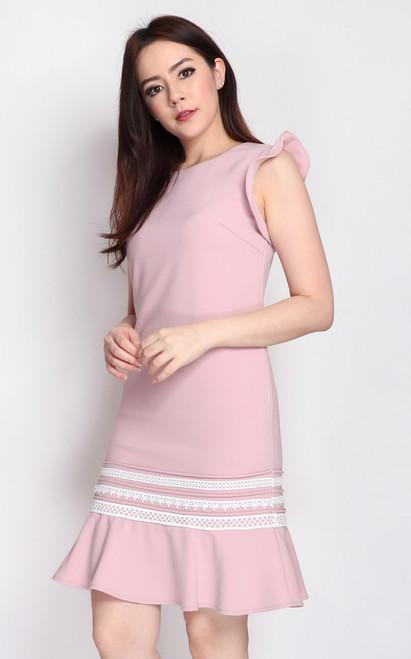 Crochet Trim Mermaid Dress - Pink