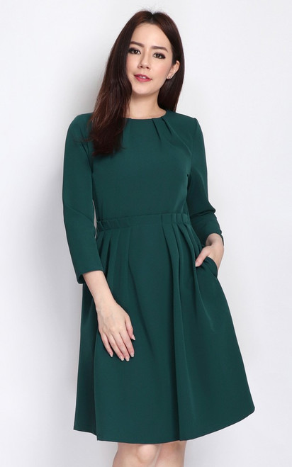 Pleated Paperbag Dress - Forest Green