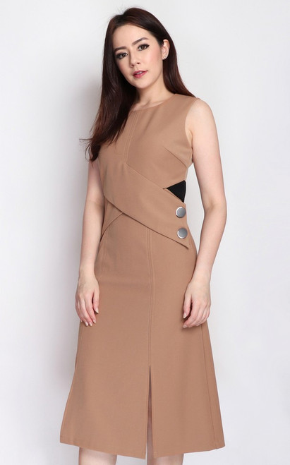 Contrast Criss Cross Dress - Warm Taupe