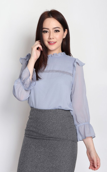 Ruffled Chiffon Blouse - Dusty Lavender