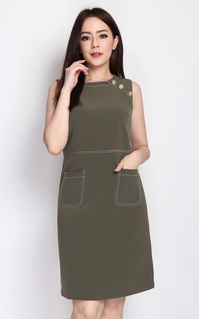 Contrast Stitch Pockets Dress - Olive