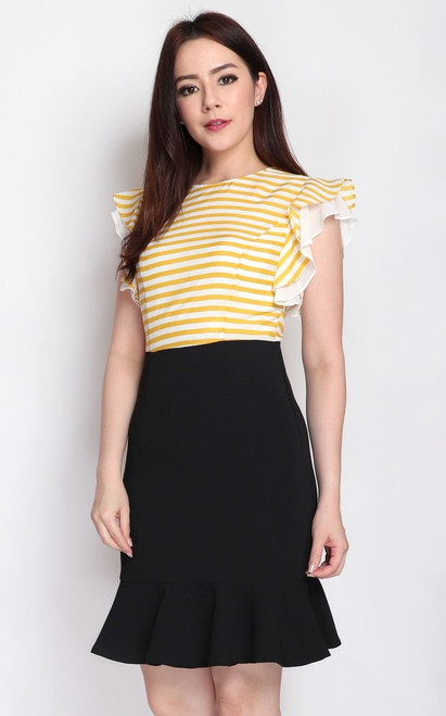 Ruffle Sleeves Dress - Yellow Stripes