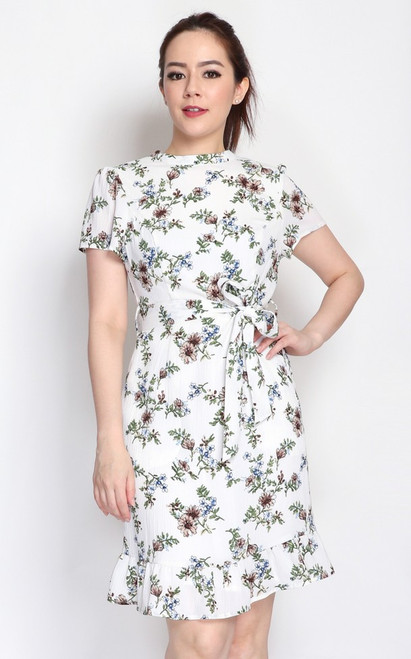 Floral Keyhole Dress - White