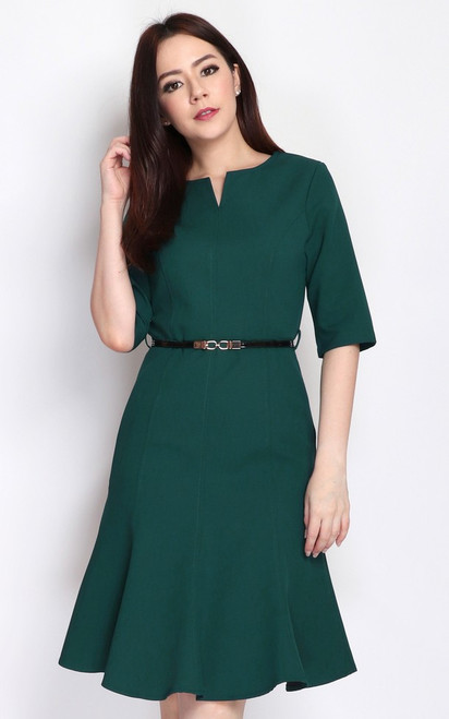 Notch Neck Flute Hem Dress - Forest Green