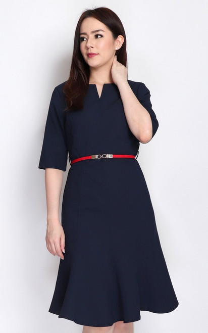 Notch Neck Flute Hem Dress - Navy