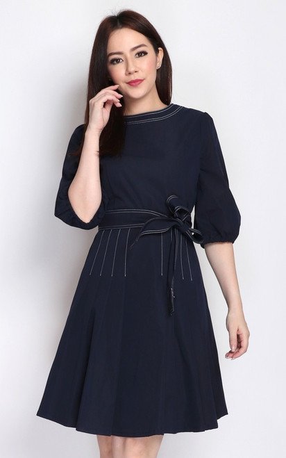 Contrast Stitch Puff Sleeves Dress - Navy