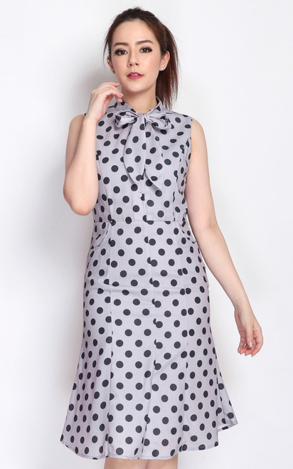 Polka Dot Necktie Dress - Grey