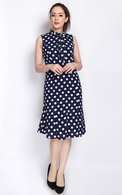 Polka Dot Necktie Dress - Navy