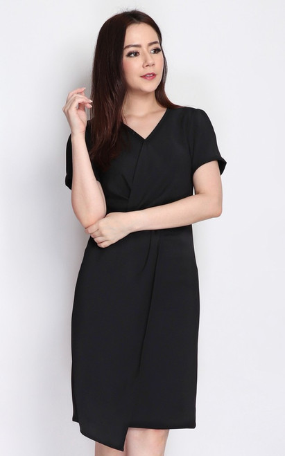 Twist Front Dress - Black