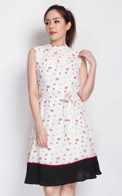 Printed High Neck Dress - White