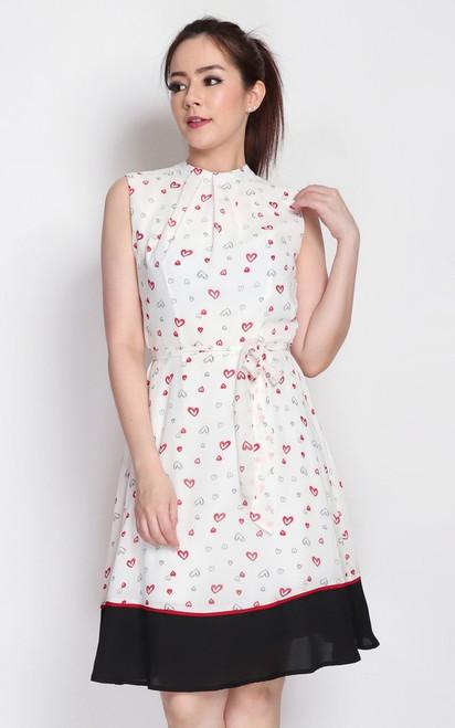 Printed High Neck Dress - White