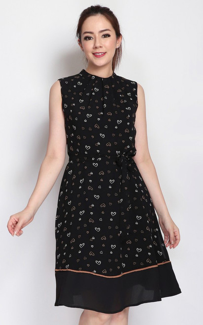 Printed High Neck Dress - Black