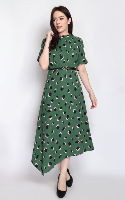 Asymmetrical Midi Dress - Green