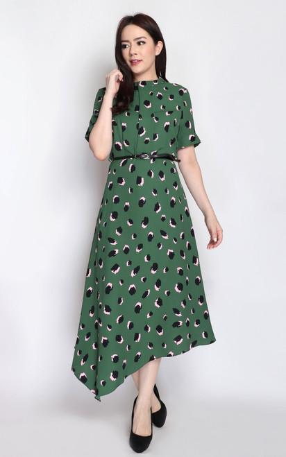 Asymmetrical Midi Dress - Green