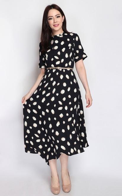Asymmetrical Midi Dress - Black