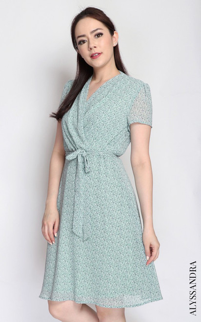 Printed Wrap Front Dress - Green