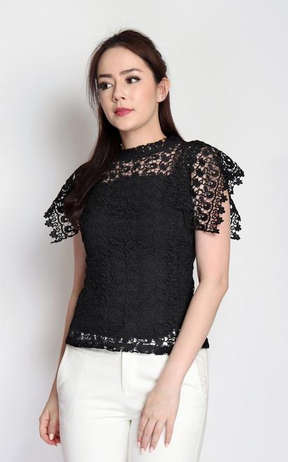 Crochet Lace Top - Black