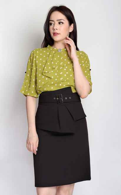 Polka Dot Pleated Frill Top - Chartreuse