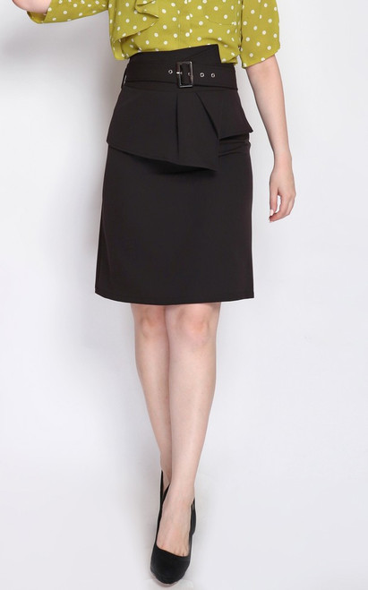 Origami Pencil Skirt - Black