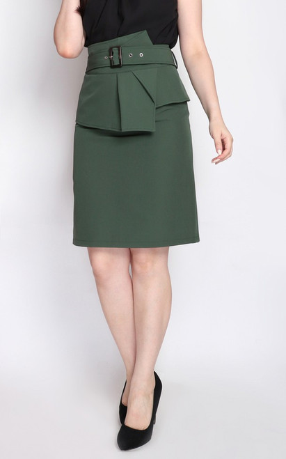Origami Pencil Skirt - Green