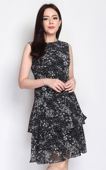 Printed Tiered Hem Dress - Black