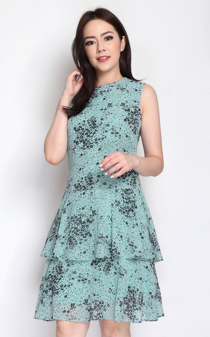 Printed Tiered Hem Dress - Jade