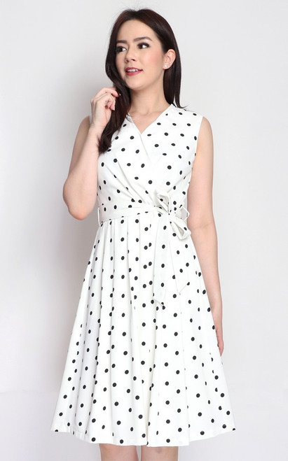Pleated Polka Dot Dress - White