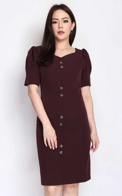 Puff Sleeves Buttons Dress - Wine