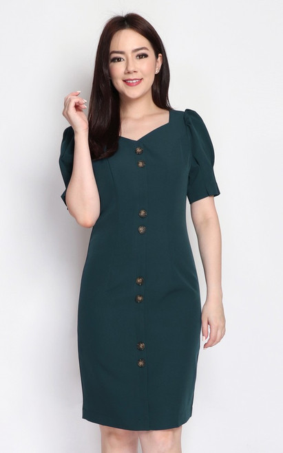 Puff Sleeves Buttons Dress - Forest Green