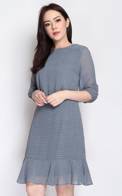 Printed Blouson Dress - Dusty Blue