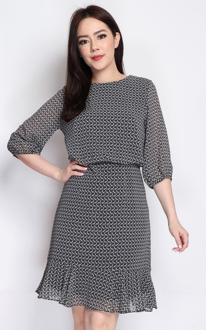 Printed Blouson Dress - Black