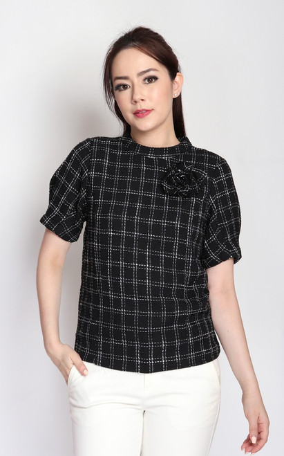 Checkered Tweed Blouse - Black