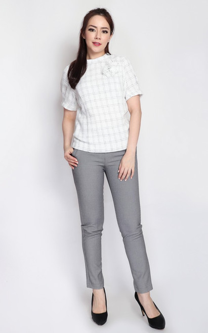 Checkered Tweed Blouse - White