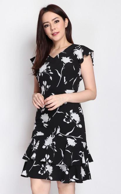 Monochrome Tiered Hem Dress