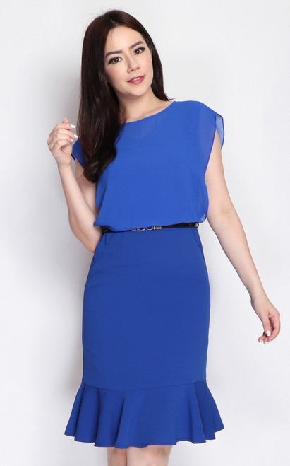 Chiffon Overlay Blouson Dress - Blue